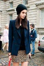 Tailored blazer on leopard print mini