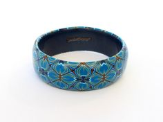 Unusual 'quilted' effect bangle denim blues and by DoodlePippin