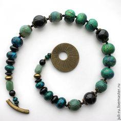 Купить Бусы из натуральных камней Агния. - зелёный, черный, зеленое колье, колье из камней