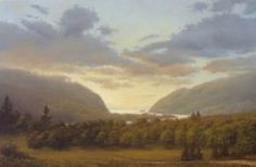 """Gentle Light of Evening"" is a Hudson Valley painting that measures 20"" x 30"".  It is by Kevin Cook, who was among a trio of  upstate New York artists practicing luminism in the Hudson River School tradition, who exhibited together at Red Door Gallery."