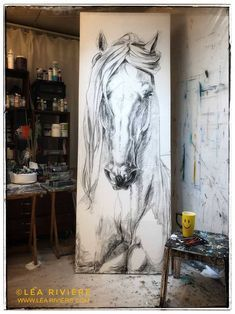 Drawing by Léa Rivière Horse Drawings, Art Drawings, Arte Equina, Urbane Kunst, Horse Artwork, Equine Art, Animal Paintings, Pastel Paintings, Watercolor Paintings
