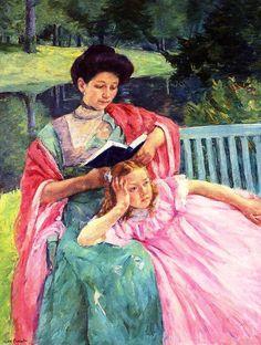 Auguste Reading to Her Daughter by Mary Cassatt, 1910. Oil on canvas. ~via Arte Moderna, FB