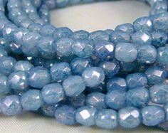 Czech Glass Beads, Picasso Beads - Light Sapphire Blue Luster (009) - 4mm Czech Glass Fire Polished Beads - Qty 50