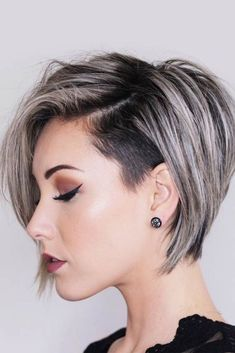 Short Layered Hair Style - 60 Classy Short Haircuts and Hairstyles for Thick Hair - The Trending Hairstyle Girls Short Haircuts, Short Hairstyles For Women, Layered Hairstyles, Trending Hairstyles, Short Undercut Hairstyles, Edgy Bob Haircuts, Shaved Side Hairstyles, Spring Hairstyles, Black Hairstyles
