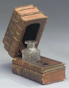 French tooled leather covered inkwell