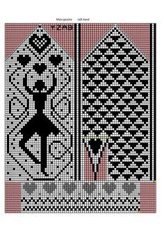 Mitten pattern with dancer Knitted Mittens Pattern, Knit Mittens, Knitted Gloves, Knitting Charts, Knitting Stitches, Knitting Patterns, Knit Stranded, Graph Design, Wrist Warmers