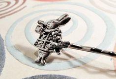 White Rabbit Bobby Pin, Hair Clip Alice in Wonderland Bobbi Pin