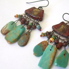 Rustic Turquoise Chandelier Earrings Turquoise by BeachGirlBeads,