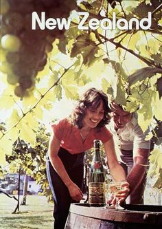 Vineyards and local wine feature in this 1980 Tourist and Publicity Department poster promoting New Zealand as a visitor destination.