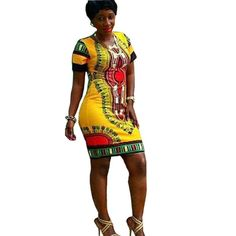 Sunward(TM) Women Traditional African Print Dashiki Short Sleeve Dress (XXLarge, Yellow). Attention:As these sizes are Asian size, it is smaller 1-2 size than the US size, please choose the size careful. Sleeve:Short sleeve. Style:Stretch, Bodycon. Features:Ethnic Pattern,Sexy Slim Mini Dress,High quality. Package include:1PC Women Dress.