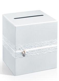 Pudełko na koperty z życzeniami VINTAGE z koronką