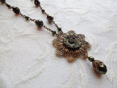 Antique Button Necklace with Earrings Olivine