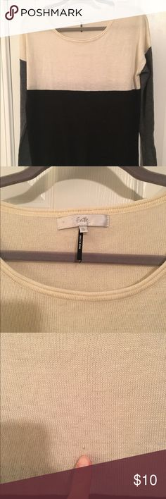 Cream, black and grey block sweater Size small block color sweater. Super soft with small snag in the front, shown in picture. Fate Sweaters Crew & Scoop Necks