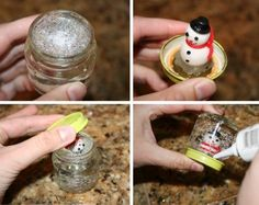How to Make Snow Globes (using baby food jars)! Merry Little Christmas, Christmas Art, All Things Christmas, Baby Jars, Baby Food Jars, Diy For Kids, Crafts For Kids, Diy Crafts, Holiday Crafts