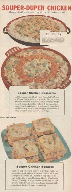 3 Souper-duper Recipes Vintage ad Spam Recipes, Retro Recipes, Old Recipes, Vintage Recipes, Chicken Recipes, Cooking Recipes, Group Recipes, Cooking Ideas, Easy Recipes