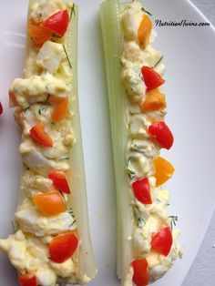Bell Pepper and Egg Salad Stuffed Celery | Sweet, Crunchy, Satisfying | Only 34 Calories | Super Easy to Make| Made with Greek Yogurt and @egglandsbest .client | For MORE RECIPES, fitness & nutrition tips please SIGN UP for our FREE NEWSLETTER www.NutritionTwins.com