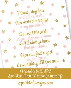 Guest Book Sign Twinkle Little Star Baby by SprinkledDesign