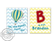 """Oh, the Places You'll Go Nursery Art Baby Nursery Room Decor, Personalized Nursery Prints ,set of 2  8"""" x 10"""" Dr Seuss Inspired on Etsy, $35.00"""