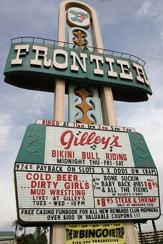 The New Frontier Hotel & Casino was the second resort that opened on the Las Vegas Strip and operated continuously from October 1942 unt. Las Vegas Hotels, Vegas Casino, Las Vegas Strip, Las Vegas Nevada, Old Vegas, Cities, Boulder City, Bull Riding, Night Life