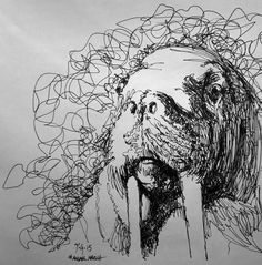#animalmarch #thedailysketch quick ink sketch using only continuous line…