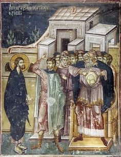 Christ being questioned by Caiaphas the high priest. Fresco in Staro Nagoricno, Macedonia. Byzantine Icons, Byzantine Art, Fresco, Church Icon, Life Of Christ, Jesus Christ, Holy Thursday, Tempera, High Priest