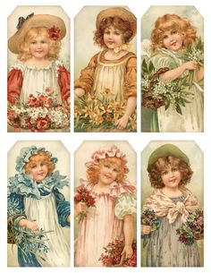 1907 Flower Maidens ~ printable set of tags, with of 6 girls & their flowers
