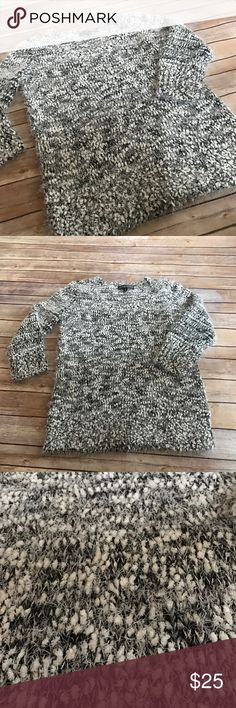 """Almost Famous Fuzzy Sweater This sweater is so cute for the transitioning seasons. Fuzzy and adorable! 26"""" L 21"""" W, tons of stretch to this beauty! Features a 19"""" 3/4 length sleeve! EUC, no flaws! Almost Famous Sweaters Crew & Scoop Necks"""