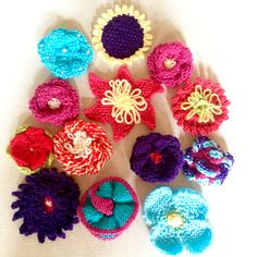 A close up of Margaret S's lovely knitted flowers!