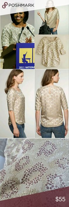 J.Crew Golden Flower Brocade Top Sz 4 As seen on First Lady Michelle Obama. Worn only one time, absolutely gorgeous pattern. Stunning on pairs nicely with different bottoms. NO TRADES PLEASE DON'T ASK ME! J. Crew Tops