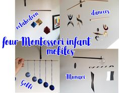 Four Montessori Infant Mobiles - Handmade - Munari, Octahedron, Gobbi, and Dancers  This is a set of four handmade Montessori infant mobiles that I made for my own daughter. We used each for only a few weeks according to the recommended schedule, and now we are ready to pass them along. This listing is for the exact mobiles in the photographs. Please note that these are not machine perfect, they were lovingly handmade by a mama for her baby.  The globe in the Munari is a plastic ornament…