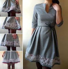 Free Sewing Pattern: Woman's dress with notch neck, 3/4 sleeves, and pleated, knee-length skirt with embellished hem.