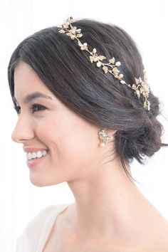 Laura Jayne Wisteria Blossom Hair Vine -  Delicately crafted into a light & flexible vine you can wear as a crown, reverse crown or profile hairpiece
