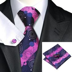 *** NEW *** Navy, Blue Circles and Fuchsia Stripe Tie with Cufflinks and Hankie