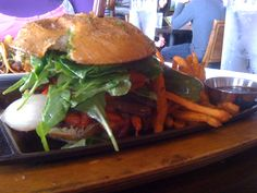 Grilled portobella sandwich with sweet potato fries at C-Level