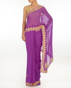 #Exclusivelyin, #IndianEthnicWear, #IndianWear, #Fashion, Orchid Purple Sari with Crystal Stones