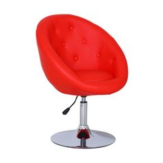 Asense Swivel Chair With Cushion, Adjustable Barstool Chair, Red