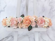 Peach flower crown  light color floral headpiece  by musefleur