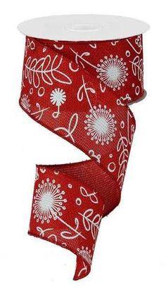 2.5 Red/White Cross Royal Plants Ribbon 10 by CustomWreathDecor