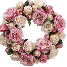 pink roses wreath.