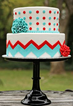 Red, White & Turquoise Dots and Chevron Cake with Red & Turquoise Flowers. I'm in love with this. Love, love, love, love.