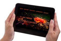 Exercice Photoshop: créér un visuel d'Halloween et l'intégrer sur différents devices. Ici su une tablette.