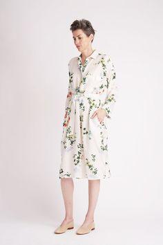 a1d6bb942158 Botanical Shirtdress. Silk TunicSilk DressShirtdressTea LengthBelt Tying TunicsMidi DressesSilk ...
