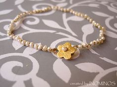 Golden Pearl Dainty Bracelet from INOMINOS by DaWanda.com