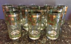 Mid Century Cora Hi-Ball Tumbler Glasses Grapes Columns by FairXchanged on Etsy