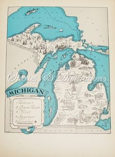 Vintage reproduction map of Michigan - etsy