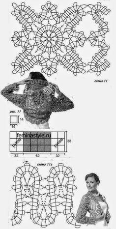 Bellísimo bolero tejido al crochet con técnica de encaje irlandés | Crochet y Dos agujas