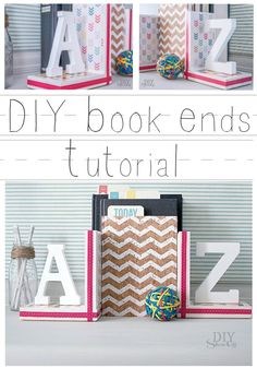 Bookends: craft letters, wooden blocks, scrapbook paper, washi tape and a bit of paint