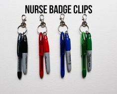 Nurse Badge Clips with Mini Pen and Mini Sharpie for Badge Reel or Lanyard Nursing Pins, Icu Nursing, Nursing Assistant, Nursing Major, Funny Nursing, Nursing Quotes, Nursing Memes, Mini Sharpie, Nursing Accessories
