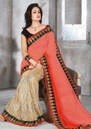 Unique Net Orange Designer Saree