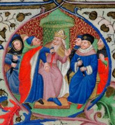 Detail of marginal roundels of Canis and the murder of Julius Caesar, from the calendar page for July, Add MS f. Medieval Manuscript, Illuminated Manuscript, Library Work, Julius Caesar, Male Hands, Calendar Pages, British Library, Middle Ages, Ms